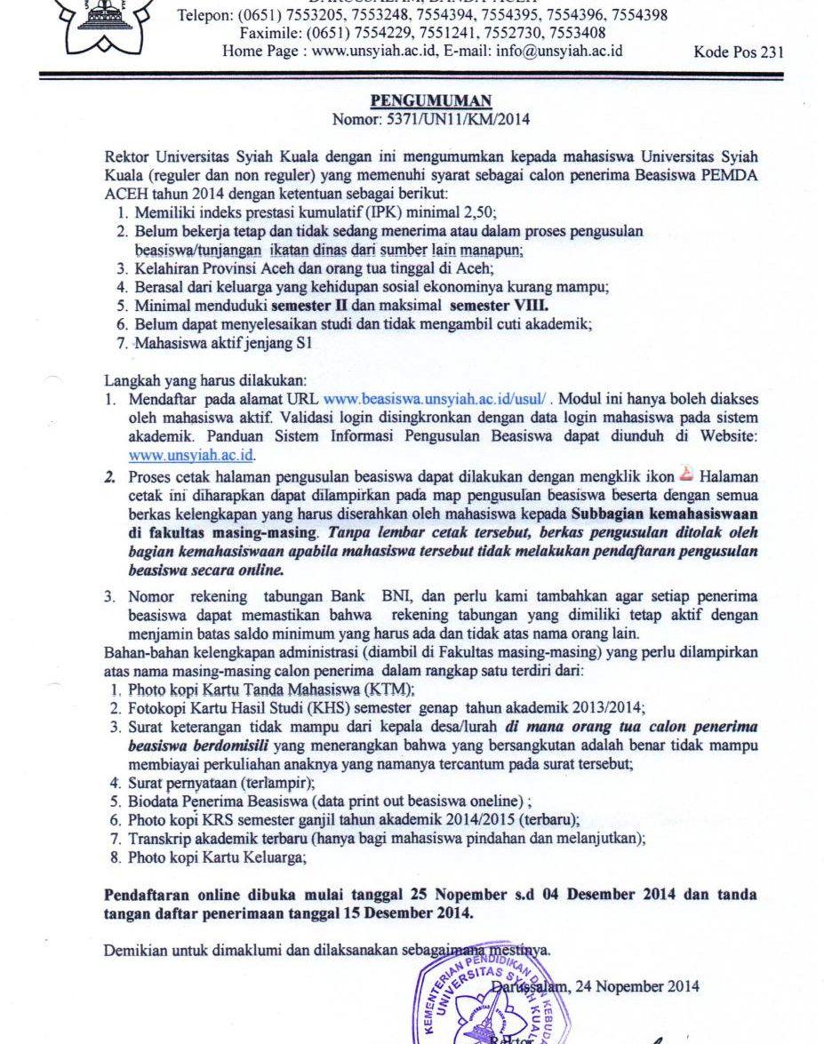 beasiswa aceh2014